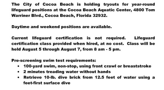 Lifeguard tryouts 2