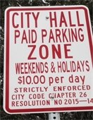 Parking sign city hall